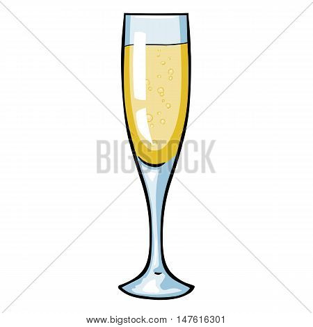 Vector Cartoon Glass Of Champagne