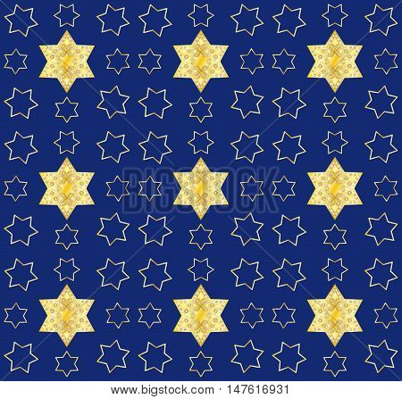 Star of David pattern. Gold stars on blue background. Seamless pattern, vector illustration.