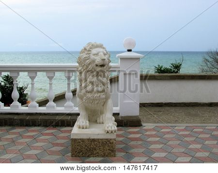 Photo sculpture of a lion on a summer evening. Picture taken in July 2009.