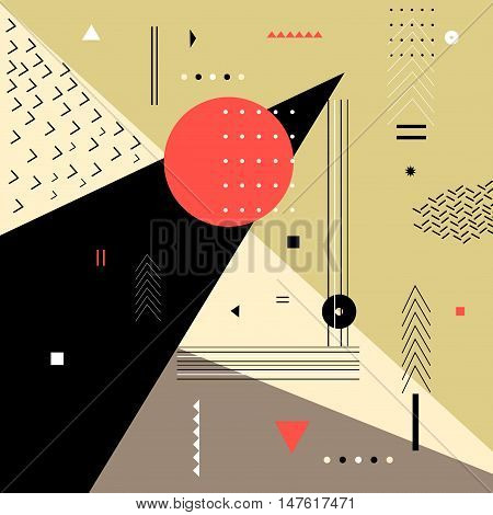 Abstract geometric background. Retro style of texture pattern and geometric elements. Modern abstract design poster cover card design