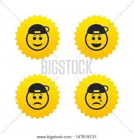 Rapper smile face icons. Happy, sad, cry signs. Happy smiley chat symbol. Sadness depression and crying signs. Yellow stars labels with flat icons. Vector
