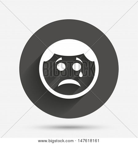 Sad face with tear sign icon. Crying chat symbol. Circle flat button with shadow. Vector
