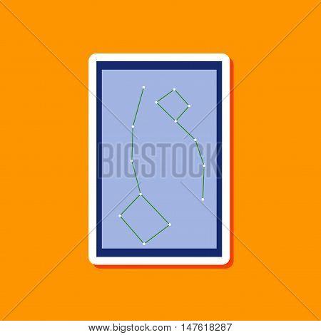 paper sticker on stylish background of constellation