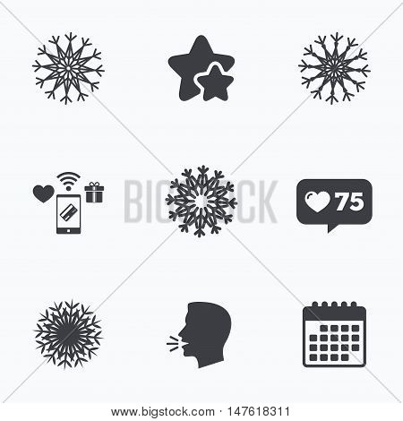 Snowflakes artistic icons. Air conditioning signs. Christmas and New year winter symbols. Flat talking head, calendar icons. Stars, like counter icons. Vector