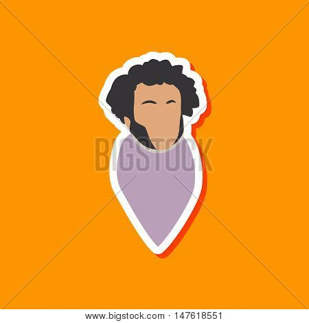 paper sticker on stylish background of Alexander Pushkin