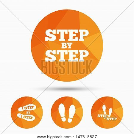 Step by step icons. Footprint shoes symbols. Instruction guide concept. Triangular low poly buttons with shadow. Vector
