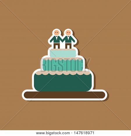 paper sticker on stylish background gays wedding cake