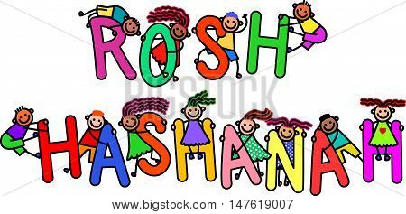 A group of happy stick children climbing over letters of the alphabet that spell out the words ROSH HASHANAH.
