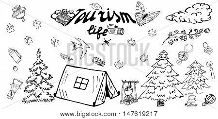 Tourism Life. Attributes Icon. Itemized Sketch set. Doodles Vector. Freehand Drawing.  Vector design. Hand Drawn elements, objects for happy Camp, Tourism, Adventure, Hike, Journey, Picnic, Weekend.