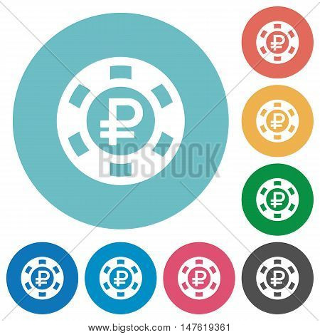 Flat Ruble casino chip icon set on round color background.