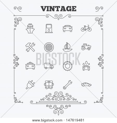 Transport and services icons. Ship, car and public bus, taxi. Repair hammer and wrench key, wheel and cogwheel. Sailboat and bicycle. Vintage ornament patterns. Decoration design elements. Vector