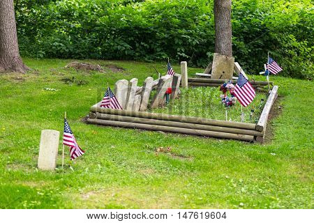 Columbia PA - June 11 2016: Restored markers of graves in Zion Hill Cemetery close to those of some Black Army veterans.