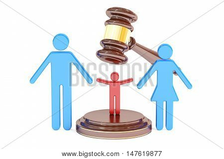 divorce and custody child concept with gavel and family 3D rendering
