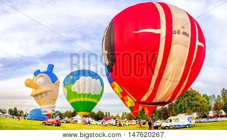 Ferrara Italy 09-17-2016: colorful balloons at the Ferrara Balloning Festival