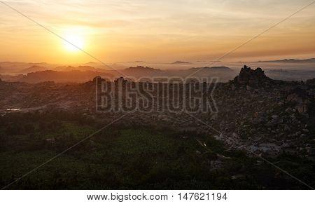 Sunrise view from the top of Hampi, Karnataka, India