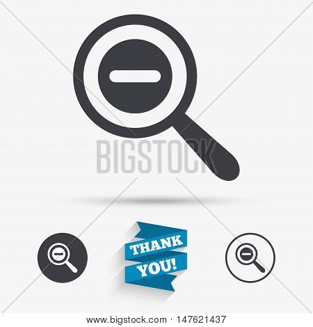 Magnifier glass sign icon. Zoom tool button. Navigation search symbol. Flat icons. Buttons with icons. Thank you ribbon. Vector