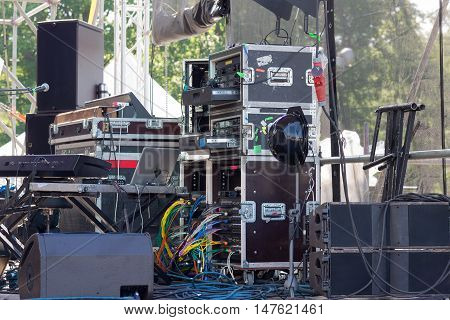 stage of music equipment for summer concert