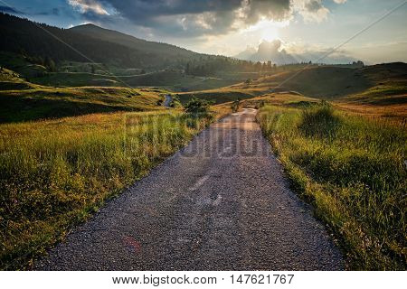 road mountain Durmitor Park at the sunset, Montenegro