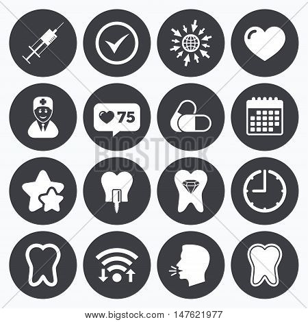 Calendar, wifi and clock symbols. Like counter, stars symbols. Tooth, dental care icons. Stomatology, syringe and implant signs. Healthy teeth, dentist and pills symbols. Talking head, go to web symbols. Vector