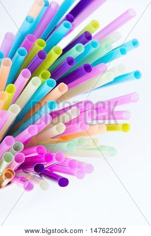 Closup of a colorful plastic drinking straws