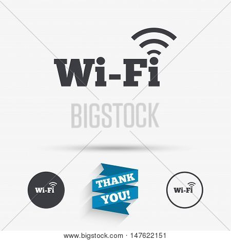 Free wifi sign. Wifi symbol. Wireless Network icon. Wifi zone. Flat icons. Buttons with icons. Thank you ribbon. Vector