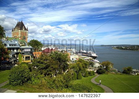 Scenic view of Chateau Frontenac and St-Lawrence river in Quebec city, Canada.