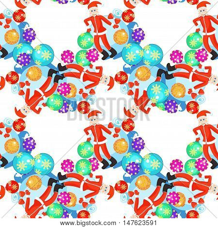 Seamless Circular Pattern Christmas Balls And Cheerful Grandfather Frost. Vector Illustration