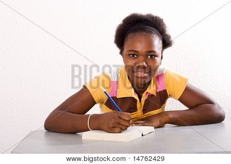 african american teen chat african american teen girl doing homework | Stock ...