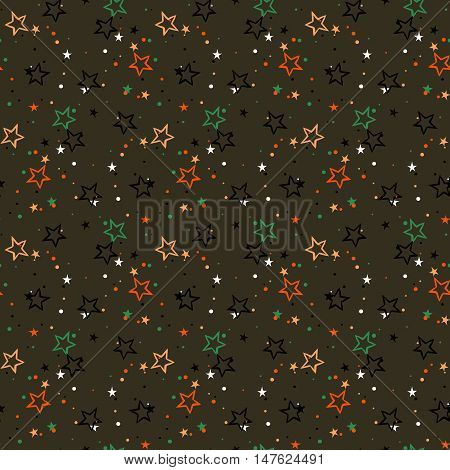Vector seamless pattern with colorful stars, starburst and dots on dark background. Ditsy print with twinkle lights. Concept of birthday celebration and holiday spirit. Kids cute textile, boys fashion
