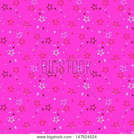 Vector seamless pattern with scatter stars, starburst and dots on pink background. Ditsy print with twinkle lights. Concept of birthday celebration and holiday spirit. Kids cute textile, girls fashion