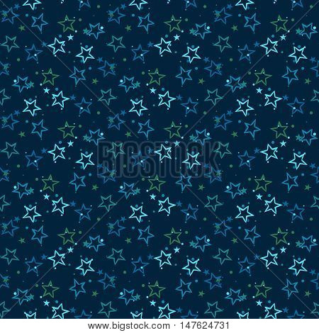 Vector seamless pattern with bright blue stars and dots on black background. Fun ditsy star print, constellations and twinkle lights. Concept of astrology and birthday and holiday spirit. Star pattern