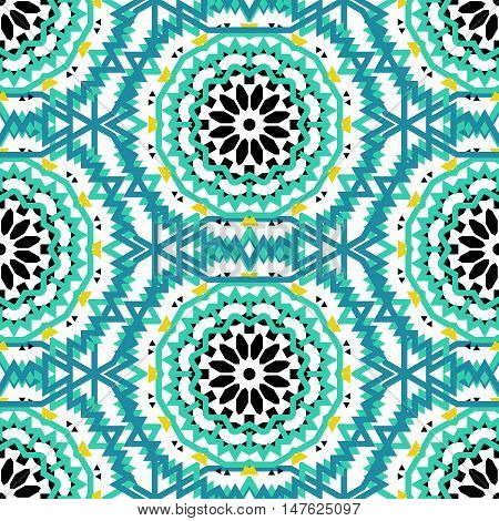 Vector ethnic colorful bohemian pattern in bright colors with big abstract flowers. Geometric bohemian background with Arabic, Indian, Moroccan, Aztec ethnic motifs. Bold mosaic print with mandalas