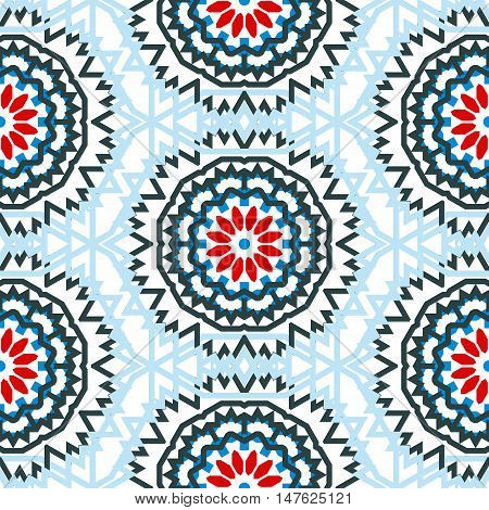 Vector tribal colorful bohemian pattern with big abstract colorful flowers. Geometric boho chic background with Arabic, Indian, Moroccan, Aztec ethnic motifs. Bold ethnic print for fall winter fashion