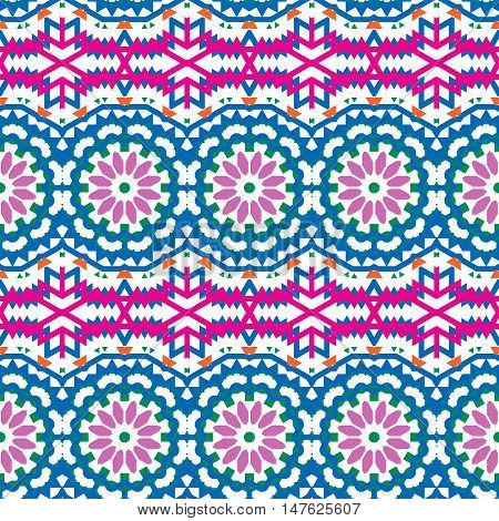 Vector ethnic colorful bohemian pattern in bright colors with big abstract flowers. Geometric background with Arabic, Indian, Moroccan, Aztec ethnic motifs. Bold tribal print for fall winter fashion