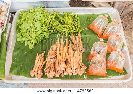 Fresh finger roots selling at Thai local market Northeast of Thailand
