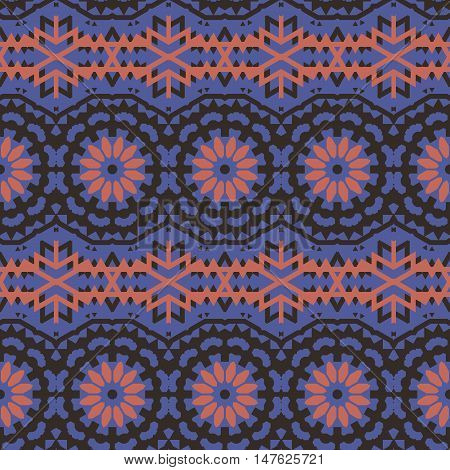 Vector ethnic colorful bohemian pattern in dark colors with abstract ethnic flowers. Geometric boho chic background with Arabic, Indian, Moroccan, Aztec motifs. Bold bohemian print with embroidery