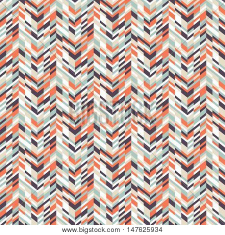 Vector geometric seamless pattern with tech line and zigzags in funky colors. Modern bold chevron print in 1980s retro style for summer spring fashion. Abstract techno chevron background