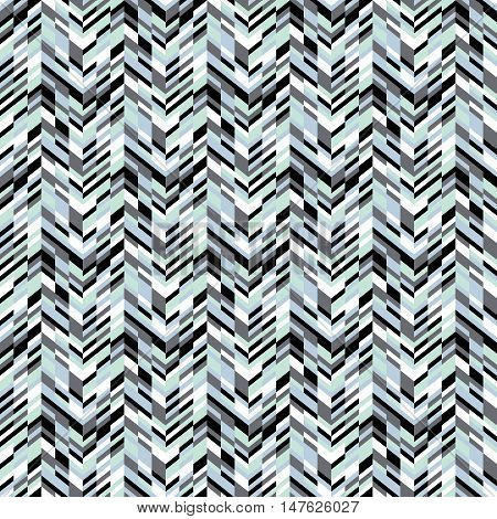 Vector geometric seamless pattern with lines and zigzags in blue colors. Modern bold chevron print in retro style for summer spring fashion. Abstract techno chevron background with colorful blocks