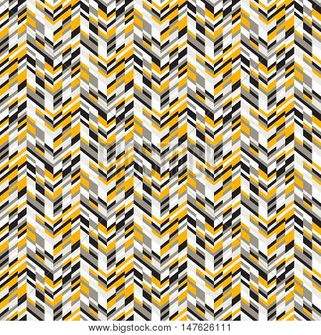 Vector geometric seamless pattern with lines and zigzags in blue colors. Modern bright chevron print in techno style for summer spring fashion. Abstract digital chevron background with colorful blocks