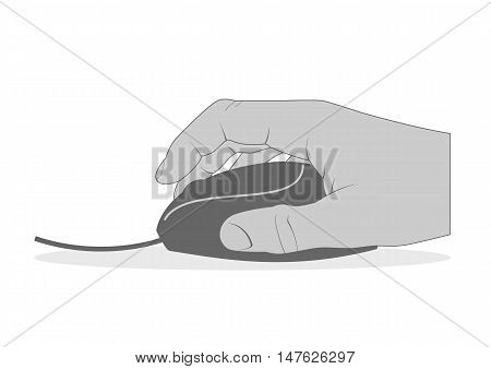 Hand with computer mouse isolated on white. Vector illustration.
