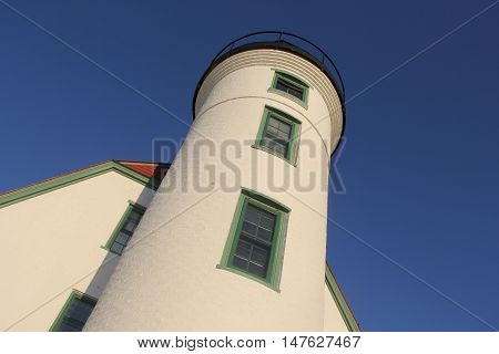 Looking up at Point Betsie Lighthouse in Michigan