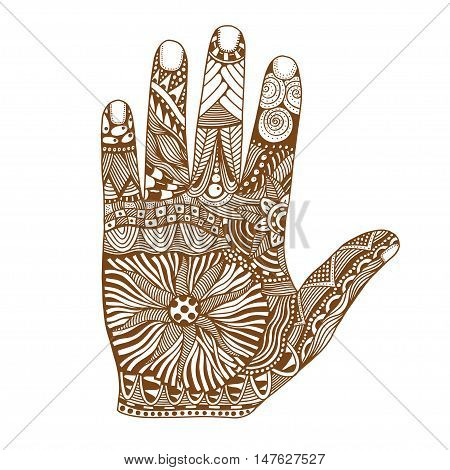 Brown Floral palm, hand drawn zentangle style for our design. Vector illustration, Isolated on white