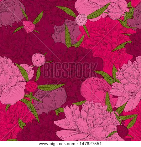 beautiful seamless background. pink peonies with green leaves and buds. Perfect for greeting cards and invitations of the wedding birthday Valentine's Day mother's day and other seasonal holidays