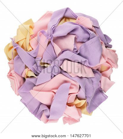 Pure Waste textiles isolated on white background