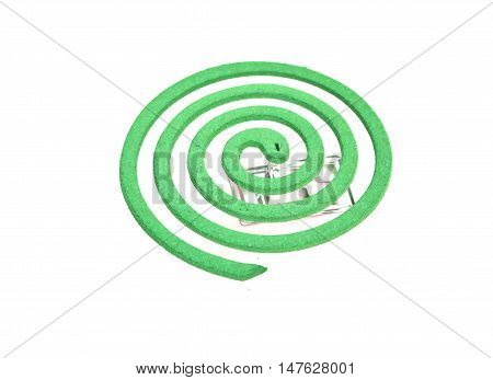 Green Mosquiito coil in  on white background
