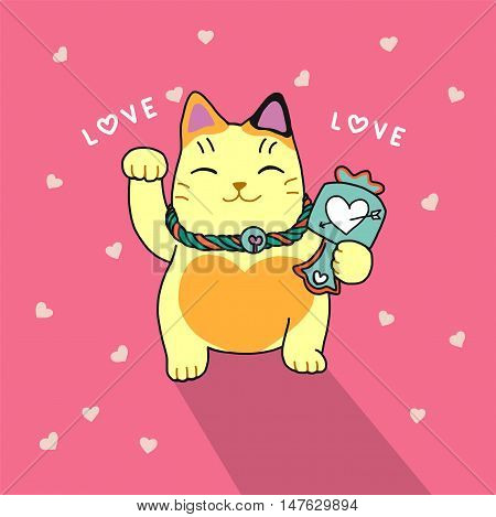 Cute lucky cat cartoon illustration on pink with heart background