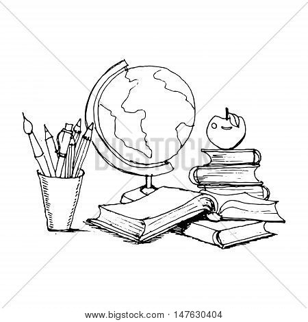 Globe and books watercolor vector  textbook, design, group, paper