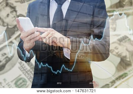Double Exposure Of Businessman Using Smart Phone , Financial Graph And Transportation Port With Japa