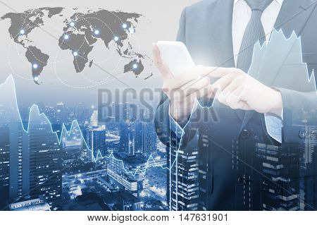 Double Exposure Of Professional Businessman Connect Internet Smart Phone And Cityscape Of Business C