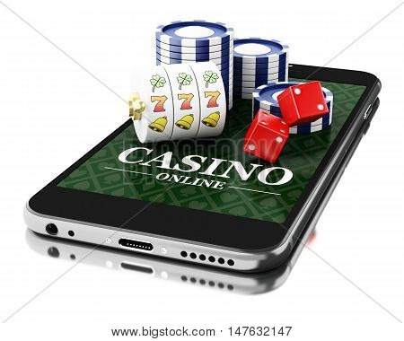 3d Illustration. Smartphone with coins and dice. Online casino concept. Isolated white background.